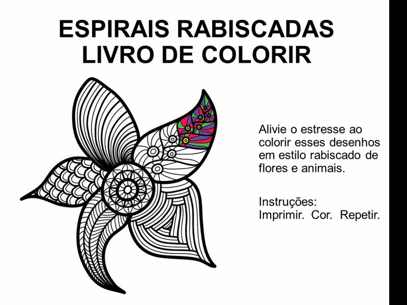Livro para colorir de espirais rabiscado