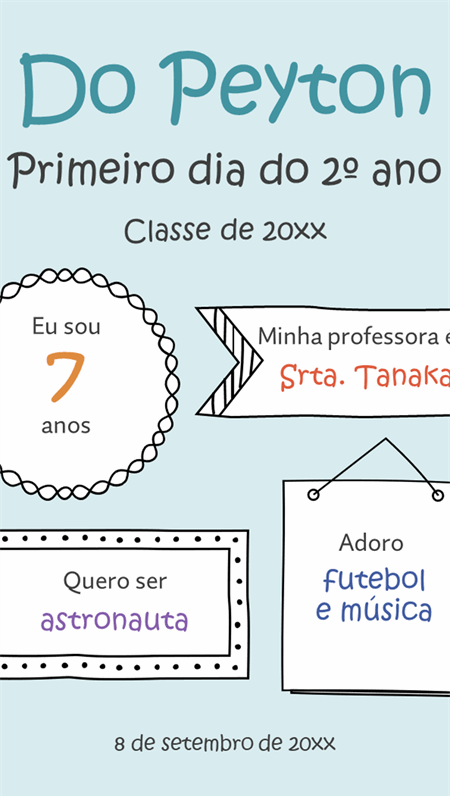 Placas de volta às aulas