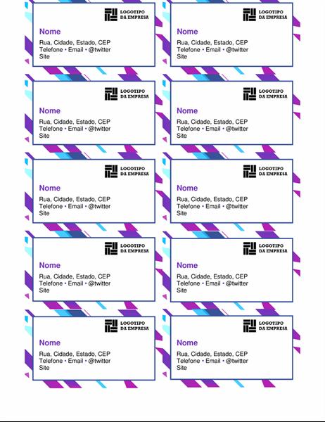Cartões de visita com elementos gráficos roxos
