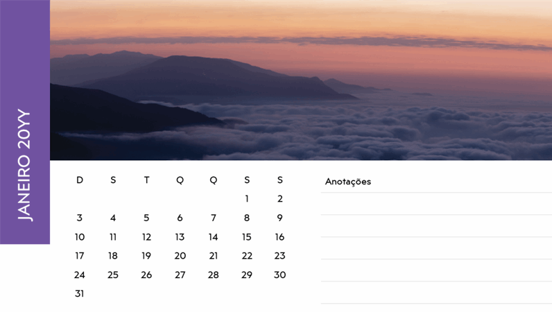 Calendário com fotos paisagísticas