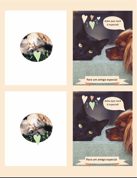 Cartão diário de gatinhos e cachorrinhos