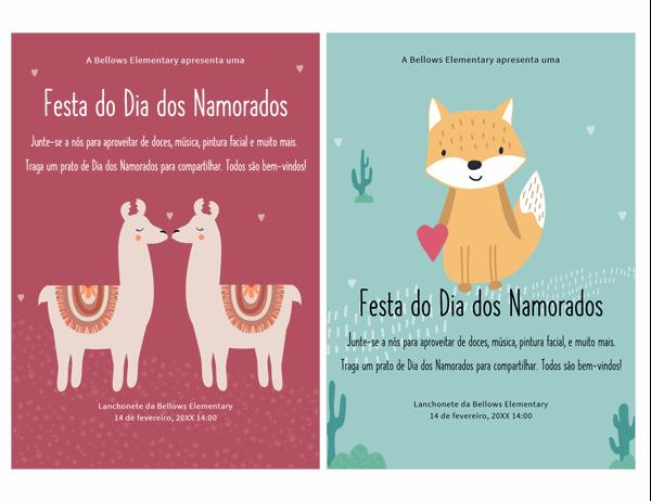 Panfleto do Dia de São Valentim para crianças
