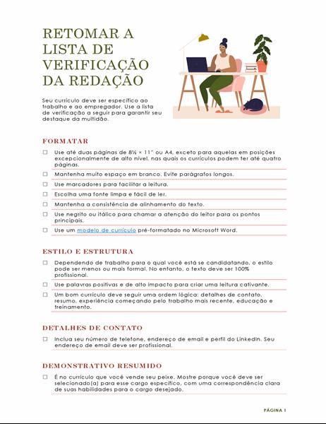 Lista de verificação de ortografia de currículo