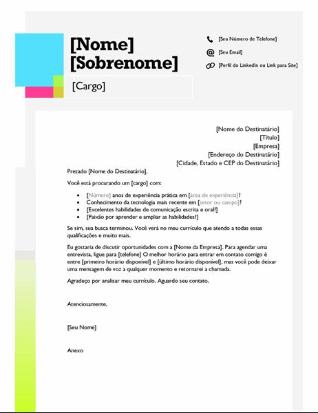 Carta de apresentação com o tema notas autoadesivas
