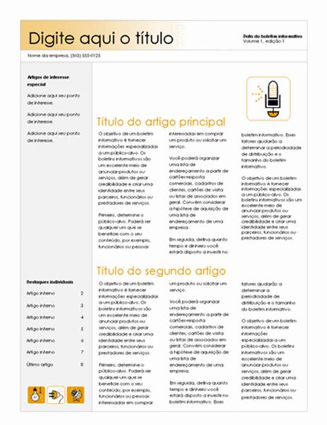 Boletim informativo (tema Acessório, 4 colunas)
