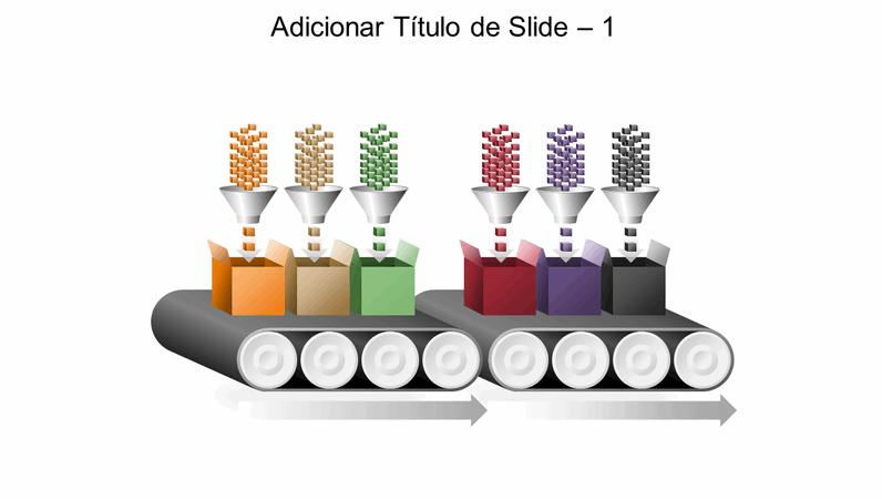 Elemento gráfico de esteira rolante de processamento