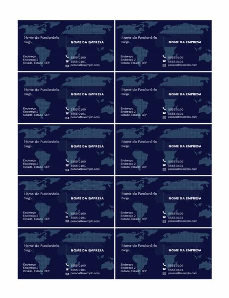Cartões de visita com mapa (10 por página)