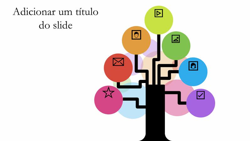 Diagrama de árvore com várias cores