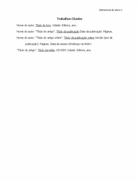 Lista de trabalhos citados em formato MLA
