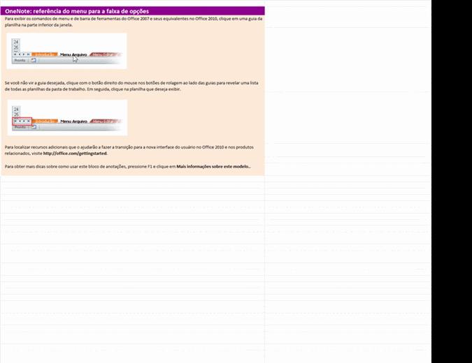 OneNote 2010: pasta de trabalho de referência do menu para a faixa de opções