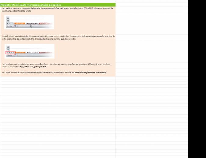 Project 2010: pasta de trabalho de referência do menu para a faixa de opções