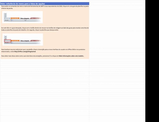Visio 2010: pasta de trabalho de referência do menu para a faixa de opções