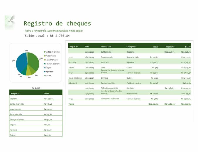 Registro de cheques com gráfico