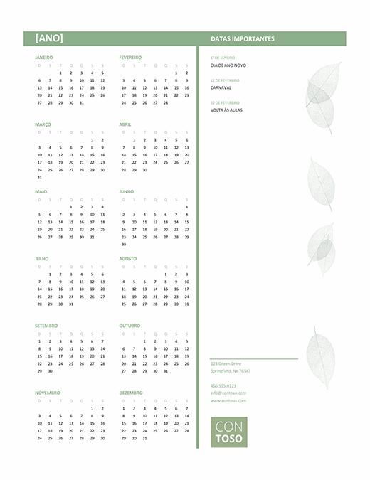 Calendário para pequenas empresas (qualquer ano, dom-sáb)