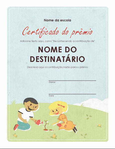 Certificado de premiação primária