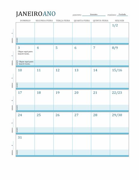 Calendário do plano de aula