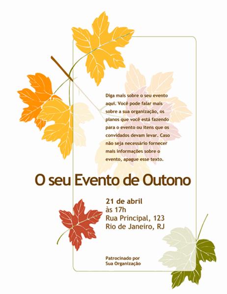 Panfleto de um evento de outono (com folhas)