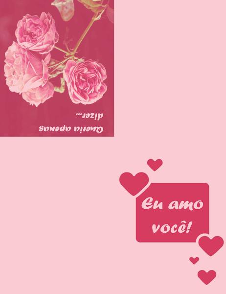 Cartão romântico (dobra em quatro partes)