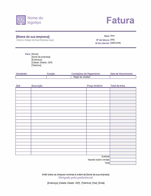 Fatura de serviço (design de Linhas Simples)