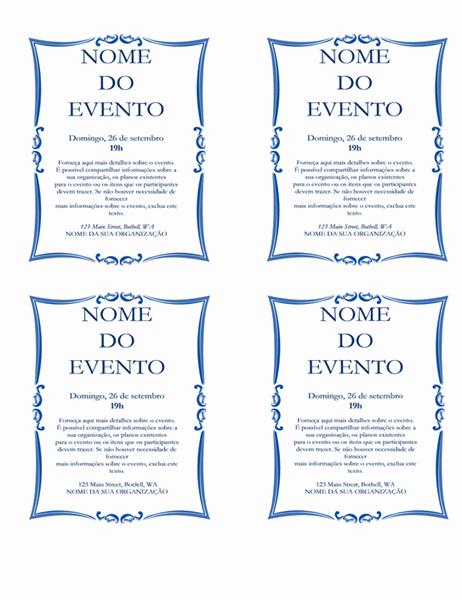 Panfleto de evento (4 vales)