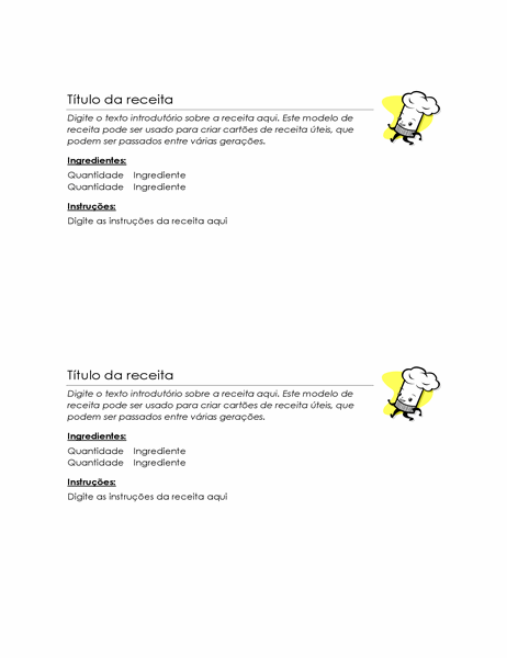 Cartões de receita (dois por página)