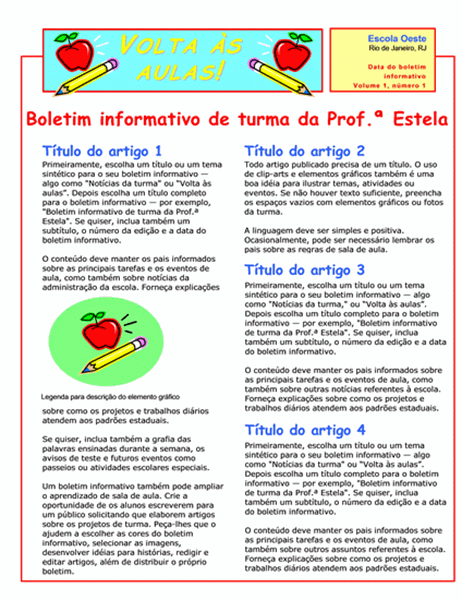 Boletim informativo da turma (2 col., 2 págs.)