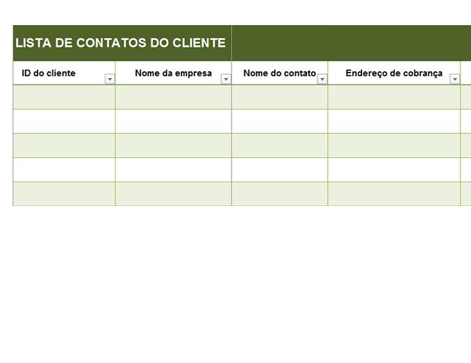 Lista básica de contatos de clientes