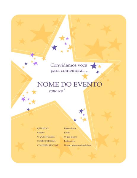 Panfleto de convite para festa