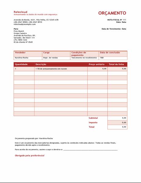 Cotação de serviço (design de Gradiente Azul)