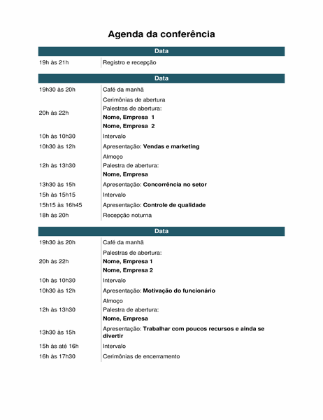 Agenda de eventos de conferência