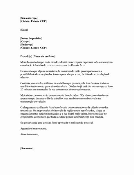Carta oficial expressando apoio