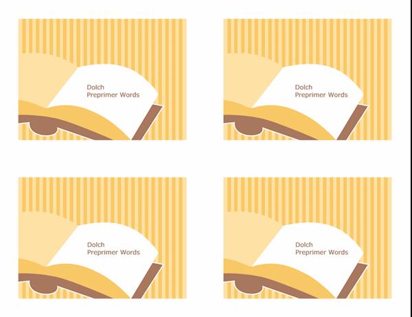 Cartões rápidos de vocabulário (palavras pré-primárias de Dolch; verso; funciona com o Avery 3263, 8387)