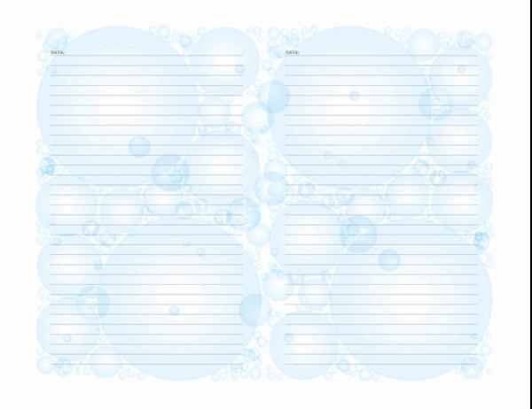 Páginas de diário (Design de bolhas; orientação paisagem)