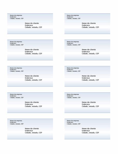 Etiquetas de remessa (design em gradiente azul, dez por página)