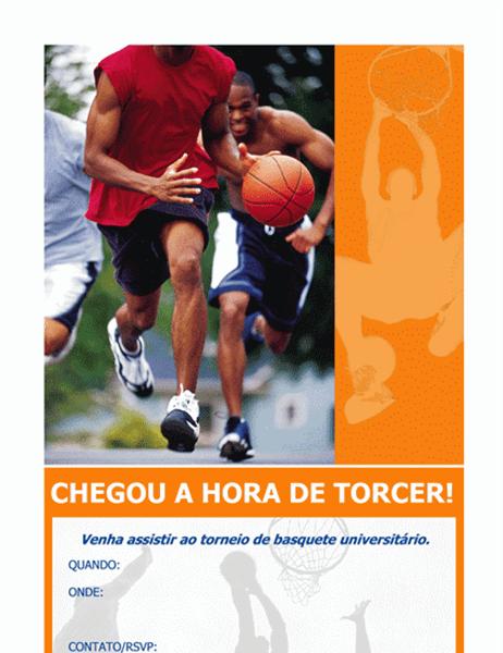 Panfleto de convite para festa de basquete