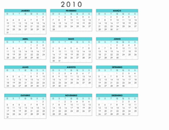 Calendário de 2010 (1 pág., Paisagem, Seg-Dom)