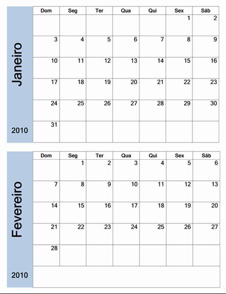 Calendário de 2010 com borda azul (6 páginas, segunda a domingo)