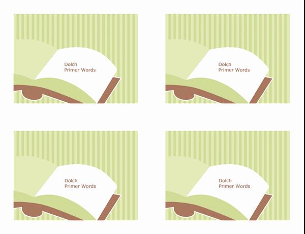 Cartões rápidos de vocabulário (palavras primárias de Dolch; verso; funciona com o Avery 3263, 8387)