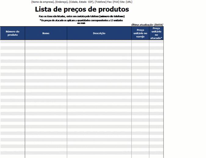 Lista de preços de produtos