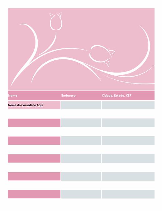 Lista de convidados do casamento (com tulipas)