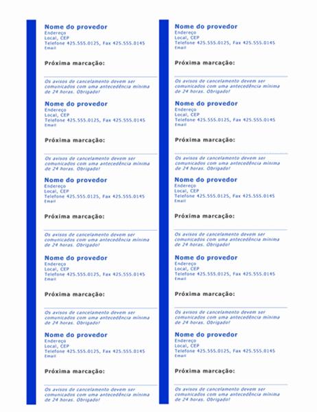 Cartões de horário de consulta