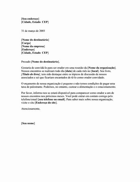 Carta de solicitação de orador não remunerado para a reunião