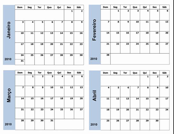 Calendário de 2010 com borda azul (3 páginas, segunda a domingo)