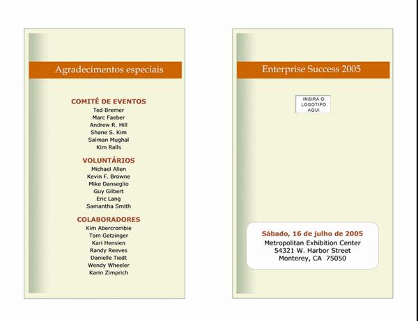 Agenda de eventos da empresa