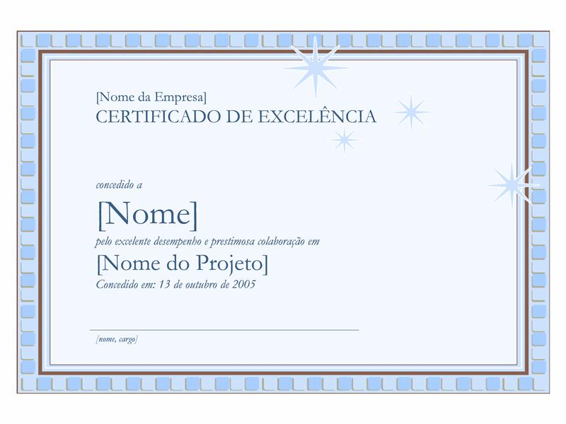Certificado de excelência