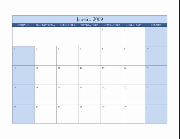 Calendário de 2009 (design azul clássico)