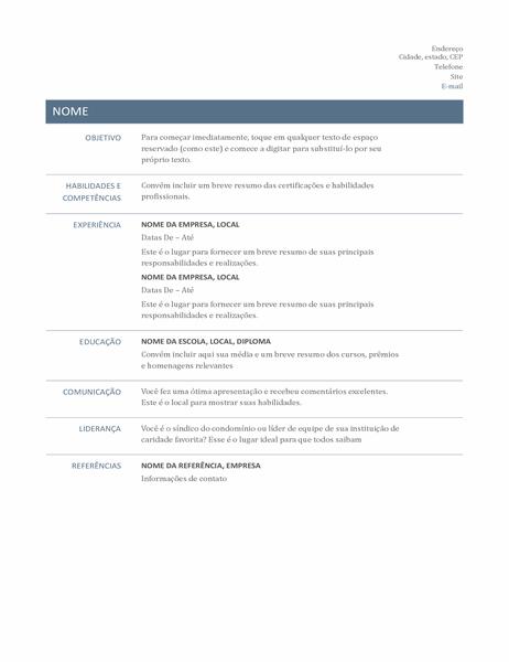 Currículo básico (Design atemporal)