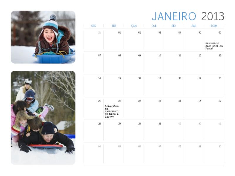 Calendário de 2013 com foto  (seg/dom)