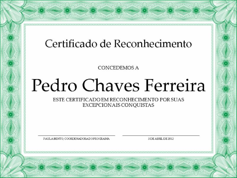 Certificado de Reconhecimento (borda verde formal)