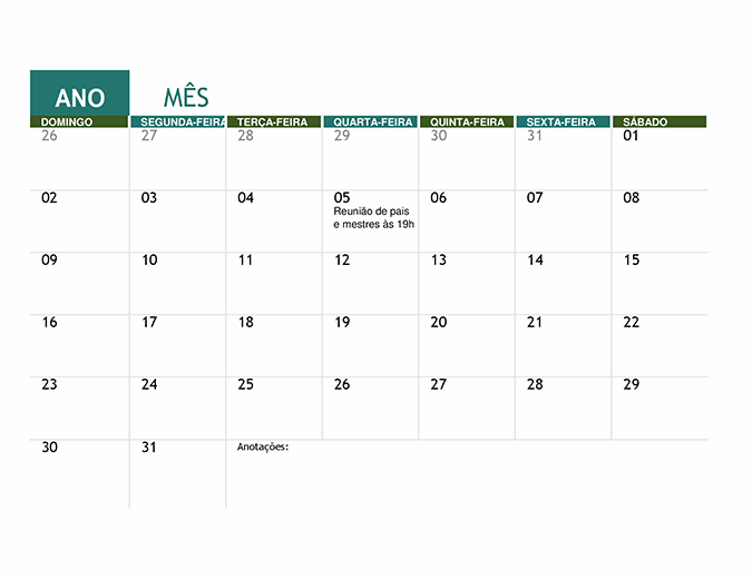 Calendário acadêmico